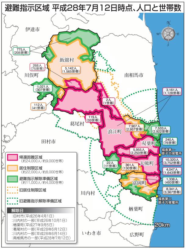震災から5年6カ月】避難区域面積...
